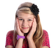 Jeune fille blonde Excited d'école avec le sourire mignon photographie stock