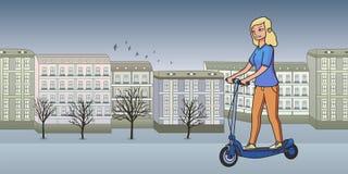Jeune fille blonde montant le scooterboard électrique sur le fond morne de ville d'automne Ligne plate illustration de vecteur D' illustration de vecteur