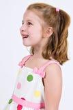Jeune fille caucasienne dans une robe de point de polka Photos stock