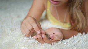 Jeune fille comptant des pièces de monnaie, argent d'économie d'enfant Enfant comptant son épargne Petit enfant comptant l'argent banque de vidéos
