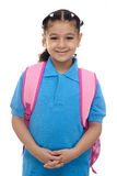 Jeune fille d'école avec le sac à dos Image libre de droits