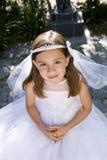 Jeune fille dans la robe et le voile blancs à l'extérieur photo stock