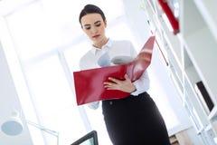 Jeune fille dans le bureau près du support et des parcourir le dossier avec les documents photographie stock libre de droits