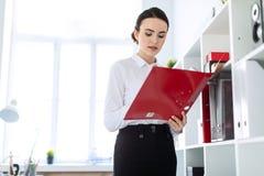 Jeune fille dans le bureau près du support et des parcourir le dossier avec les documents image stock