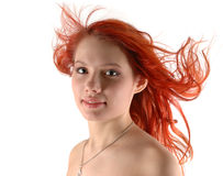 Jeune fille dans le vent Image stock