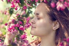 Jeune fille dans un champ de pommiers pendant le printemps Image libre de droits