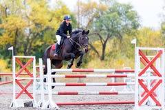 Jeune fille de cavalier sur le cheval de baie sautant par-dessus la barrière Image stock