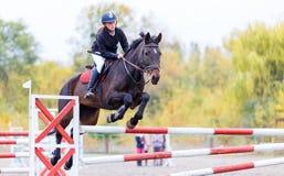 Jeune fille de cavalier sur le cheval de baie sautant par-dessus la barrière Photographie stock libre de droits