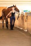 Jeune fille de jockey choyant le cheval brun Photo stock