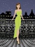 Jeune fille de mode dans la longue robe Images libres de droits