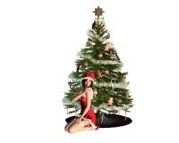 Jeune fille de Santa près d'un arbre de Noël Images libres de droits