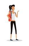 Jeune fille de sourire en bref avec le sac à dos Vecteur illustration libre de droits