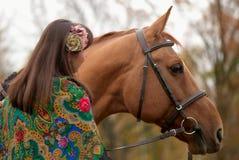 Jeune fille et son cheval Images libres de droits