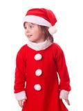 Jeune fille européenne dans la robe rouge de Santa Images stock