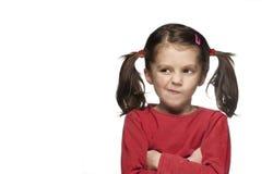 Jeune fille fâchée sur le blanc Images libres de droits