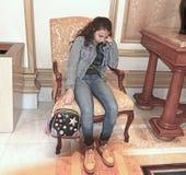 Jeune fille fatiguée Images stock