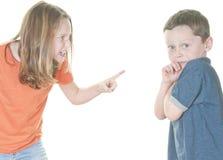 Jeune fille grondant le garçon Photos libres de droits