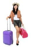Jeune fille heureuse partant en vacances Photos libres de droits