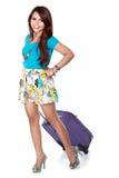 Jeune fille heureuse partant en vacances Image stock