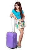 Jeune fille heureuse partant en vacances Image libre de droits