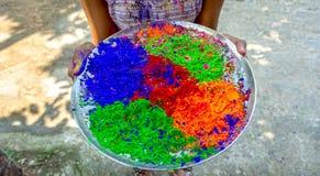 Jeune fille indienne tenant des couleurs multiples de poudre de Holi dans un plat pendant le festival de couleurs ou du festival  images libres de droits