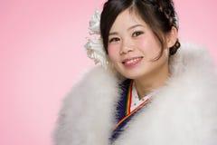 Jeune fille japonaise dans le kimono Images libres de droits