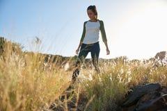 Jeune fille marchant par la longue herbe Photo libre de droits