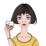Jeune fille mignonne avec le verre de vin rouge Illustration de vecteur, d'isolement sur le fond blanc illustration de vecteur