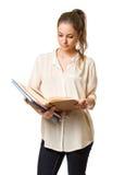 Jeune fille mignonne d'étudiant de brune. Image stock