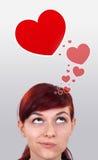 Jeune fille regardant le type d'amour de graphismes Images stock