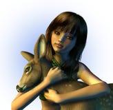 Jeune fille retenant un faon - comprend le chemin de découpage Image stock