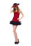 Jeune fille rousse dans la robe de point de polka Photographie stock