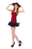 Jeune fille rousse dans la robe de point de polka Photo stock