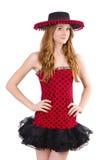 Jeune fille rousse dans la robe et le sombrero de point de polka Photographie stock