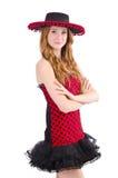 Jeune fille rousse dans la robe et le sombrero de point de polka Image libre de droits