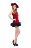 Jeune fille rousse dans la robe et le sombrero de point de polka Images libres de droits