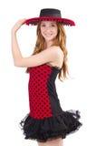 Jeune fille rousse dans la robe et le sombrero de point de polka d'isolement Photos stock