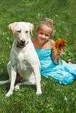 Jeune fille s'asseyant avec son chien Image libre de droits