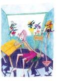 Jeune fille s'asseyant dans la chambre avec le perroquet illustration libre de droits