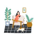 Jeune fille s'asseyant dans le fauteuil confortable et le thé ou le café potable dans la chambre meublée dans le style scandinave illustration stock