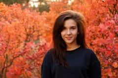 Jeune fille se tenant en bois d'automne dans les vêtements de sport Photos stock