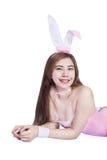 Jeune fille sexy dans la lingerie ou la fille de lapin Photos stock