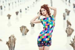 Jeune fille sexy dans une place abandonnée Photographie stock libre de droits