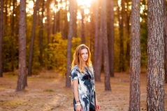 Jeune fille solitaire souriant au coucher du soleil dans la forêt Image libre de droits