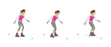 Jeune fille sur des patins de rouleau Méthodes de patinage Étude des mouvements de base D'isolement sur le fond blanc illustration libre de droits