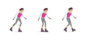 Jeune fille sur des patins de rouleau Méthodes de patinage Étude des mouvements de base D'isolement sur le fond blanc illustration de vecteur