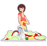 Jeune fille sur la cuisine Images stock