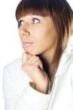 Jeune fille sur le blanc Photographie stock