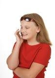 Jeune fille sur le téléphone portable mobile images stock