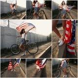 Jeune fille tenant la bannière étoilée d'americam en son collage extérieur de mains Image stock